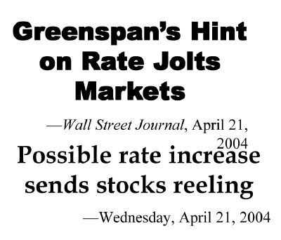 Greespan Speech Moves the Markets?